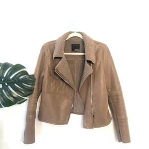 Barneys •Tan Faux Suede & Shearling Moto Jacket